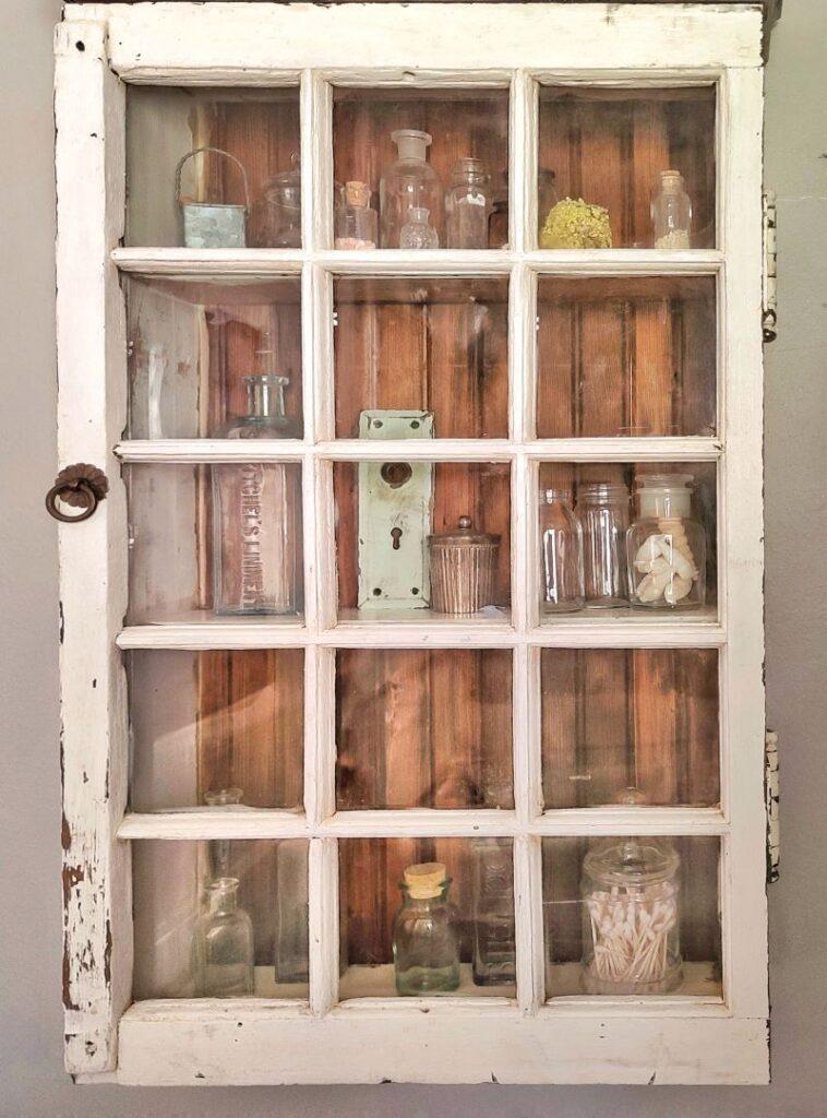vintage window cabinet