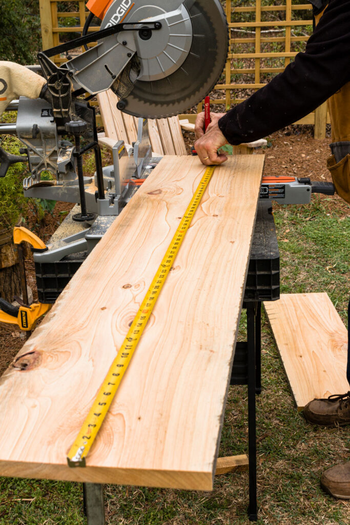 Cutting four boards for the long side