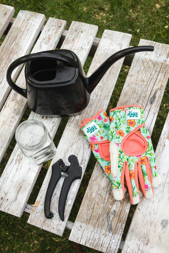 supplies, jar, water, gloves, garden snips