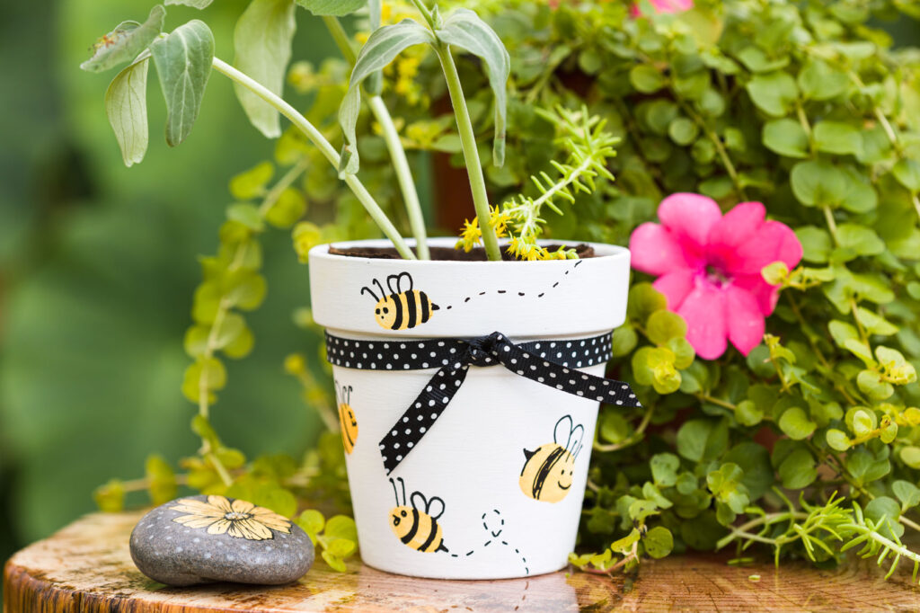 Terracotta pot in the garden