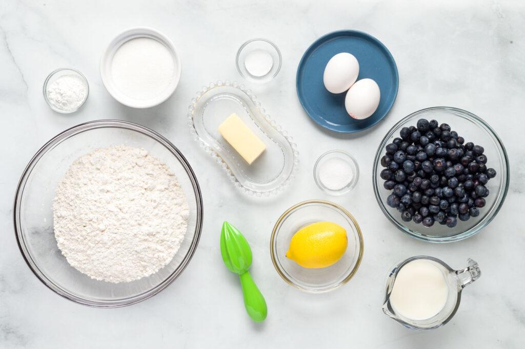 Lemon blueberry muffin ingredients