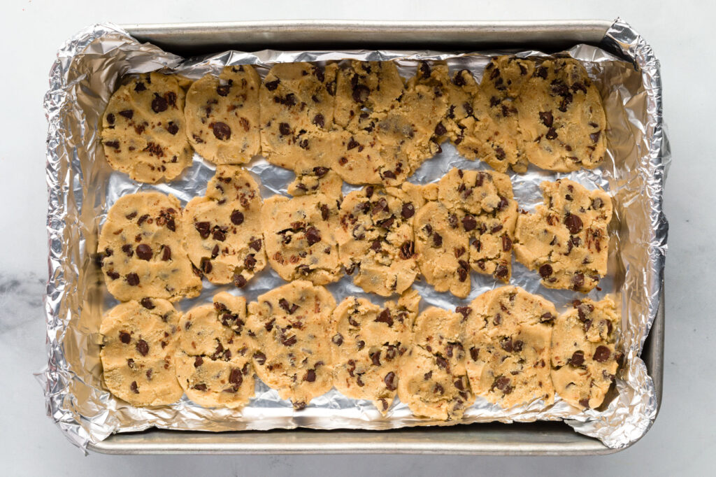 Pan lined with cookie slices