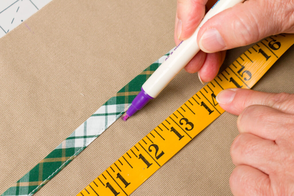 Mark the stitching lines for the pocket sections