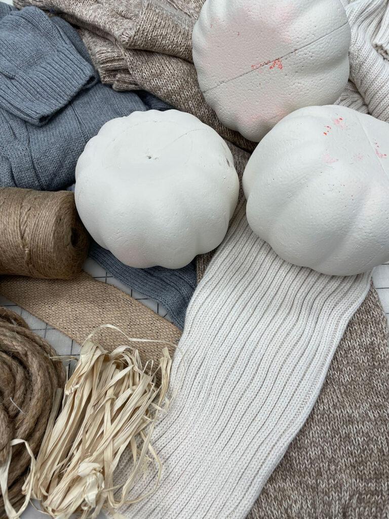Sweater pumpkin supplies