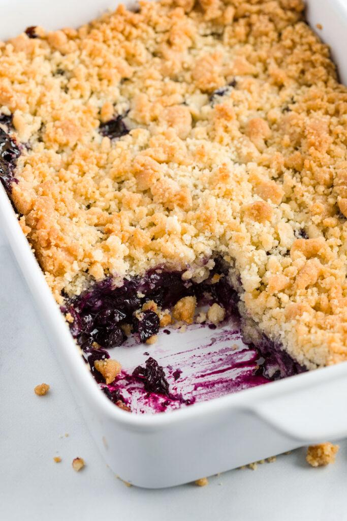 baking dish of blueberry crisp