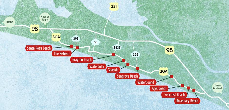 Map of Gulf Coast Beaches