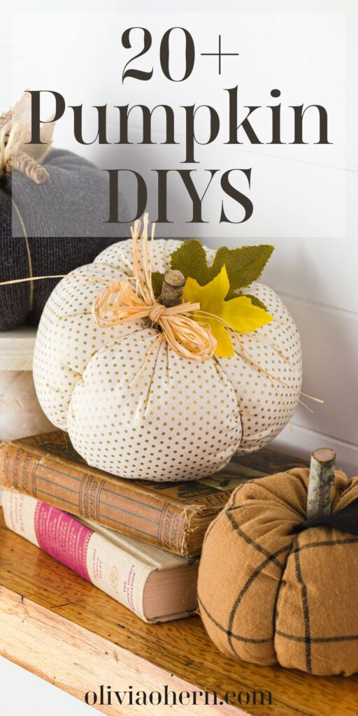 fabric pumpkins on a stack of books on the mantel