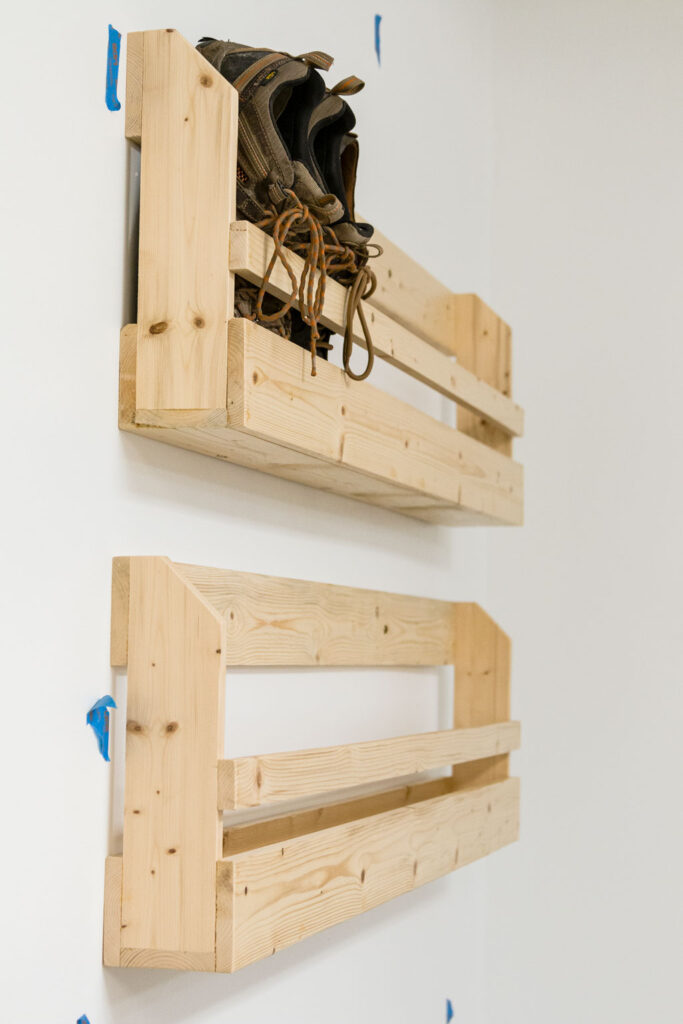 side view of hanging wood shoe rack