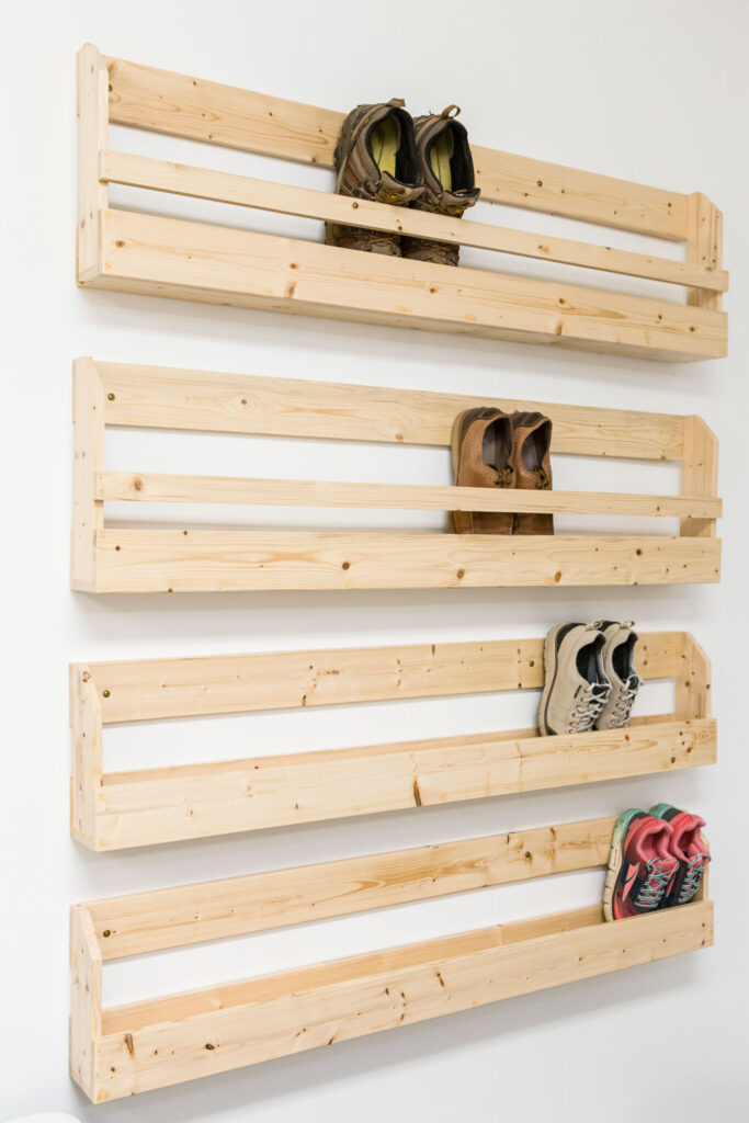 DIY Wooden shoe display attached to the wall