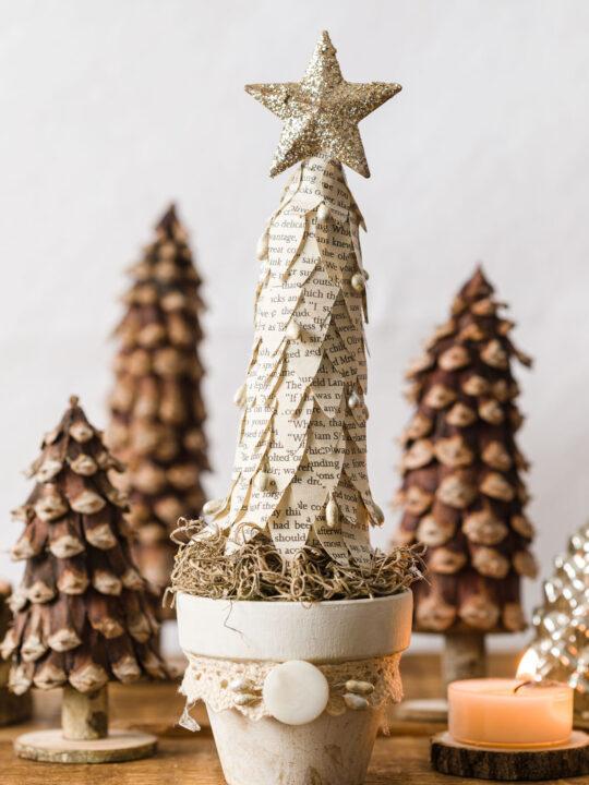 DIY Christmas Trees sitting on a table