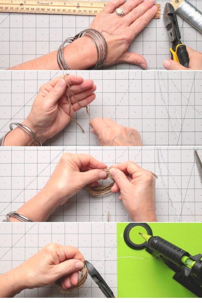 Steps for making a hand wrap twine pumpkin