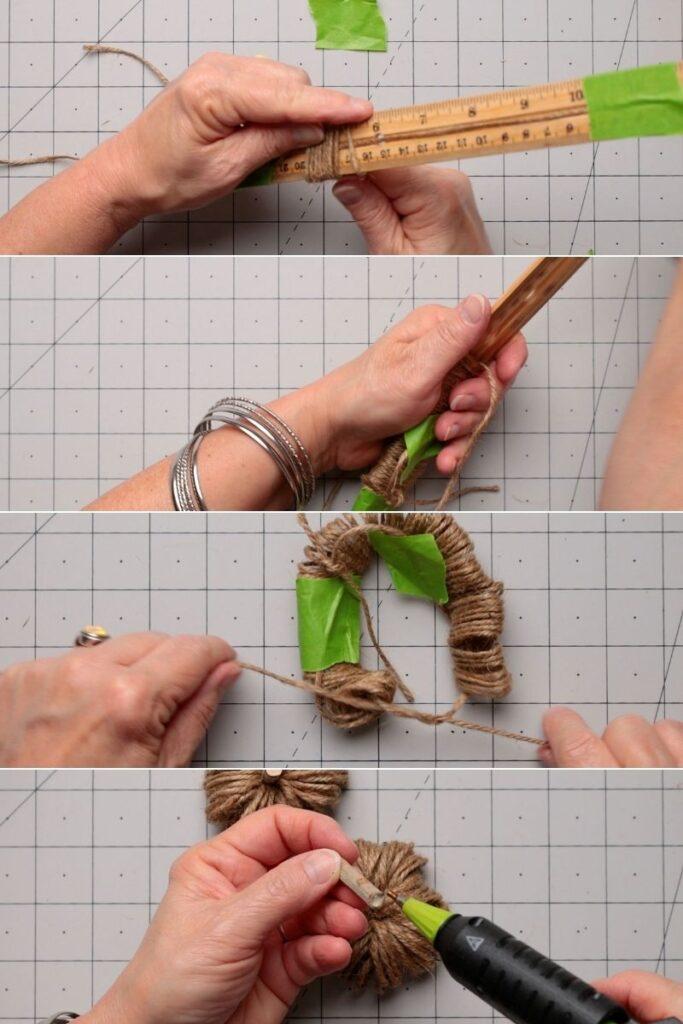 Steps for making twine pumpkins using a ruler as form & adding astick stem