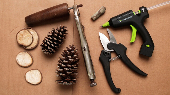 Pine cone making supplies on the table