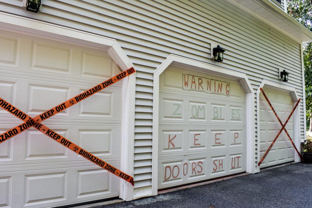 Garage door zombie decorations