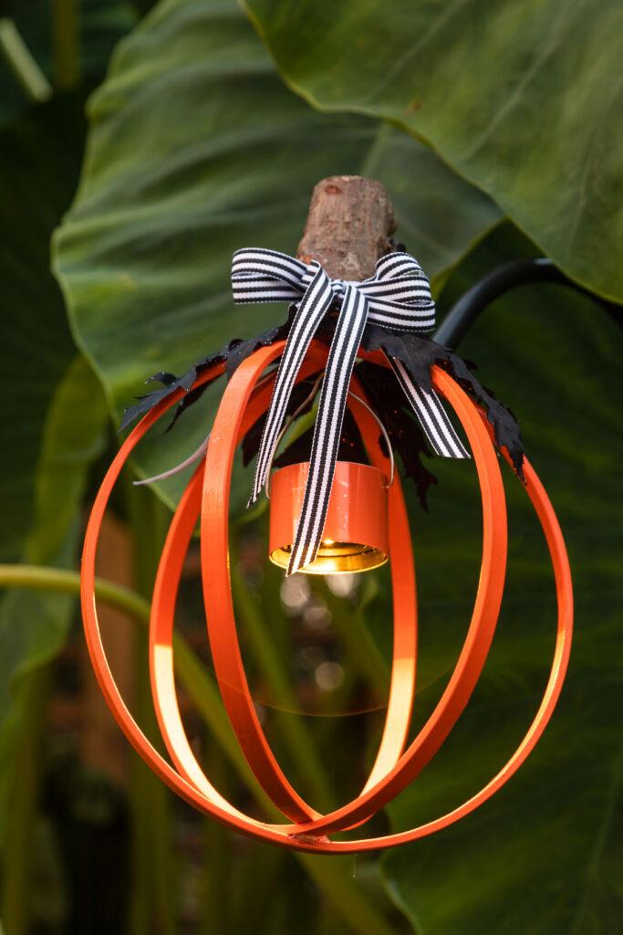 DIY Halloween Lantern hanging on a shepherd's hook