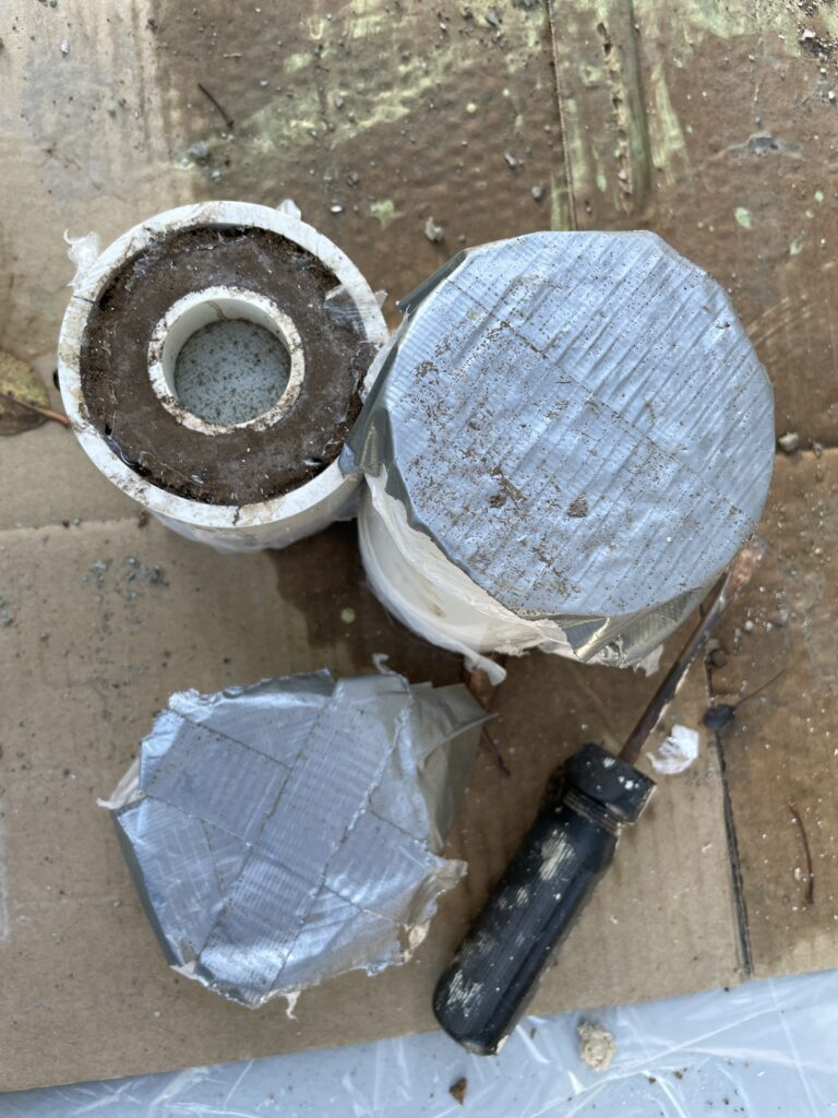Cement mold with tree bark