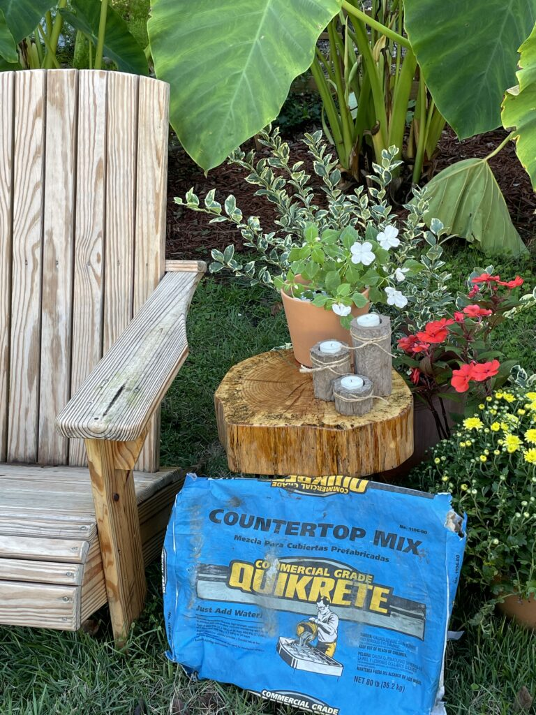 Quikrete bag with chair and wooden table in the garden